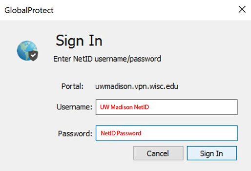 Sign in with your UW Madison NetID and password,