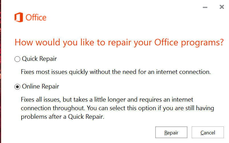 Microsoft Office 2007/2010/2013/2016 (Win) - Repairing Corrupted