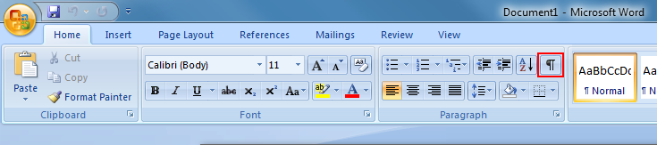 In newer versions of Word, it will appear under the Home tab in the upper right-hand corner of the Paragraph section