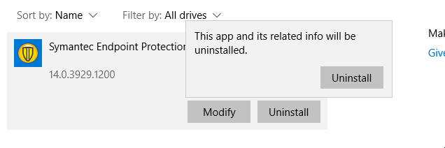 Uninstall prompt