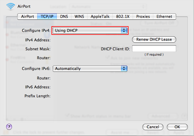 Verify that Configure IPv4 is set to Using DHCP