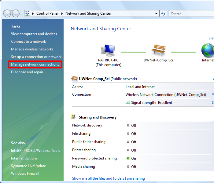 In the network and sharing center, click manage network connections on the left