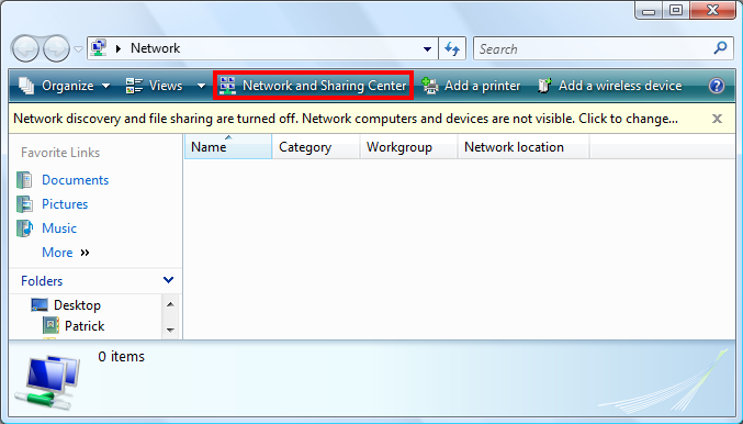 Click Network and Sharing Center in the Network window