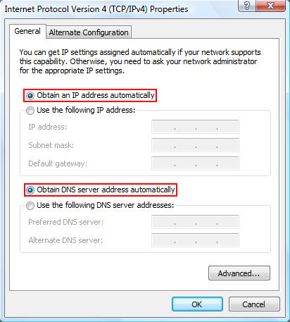 Select Obtain IP automatically and Obtain DNS automatically.