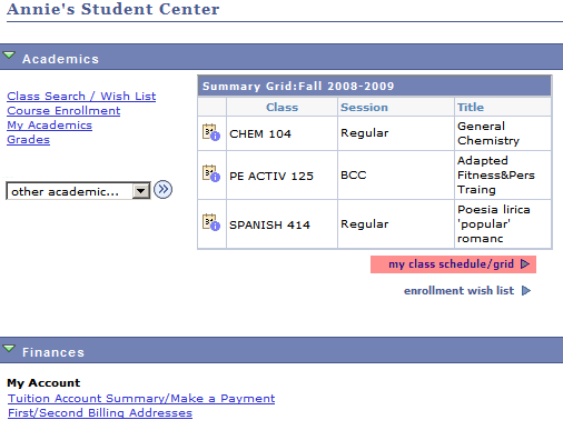 Accessing Class Schedule in Grid View