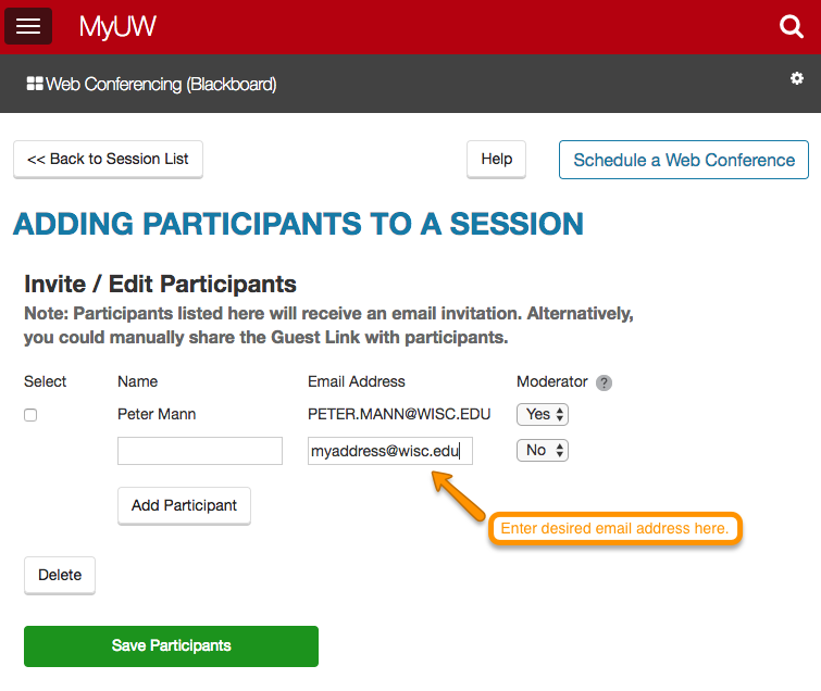 Adding Participants to a Session screenshot