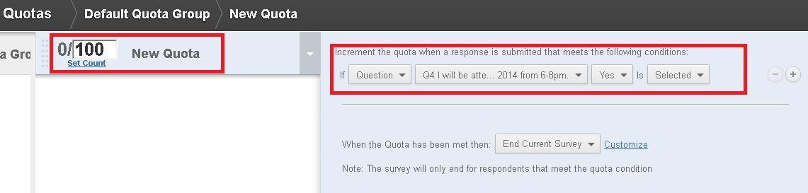 Screen capture of Quota work page in Qualtrics