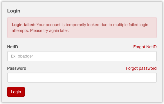 NetID account lockout screenshot