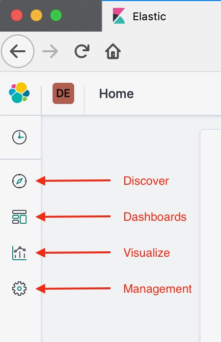 Kibana user interface navigation buttons