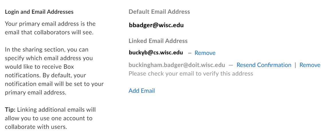 "Emails displayed in the ""Login and Email Addresses"" section with one email grayed out"