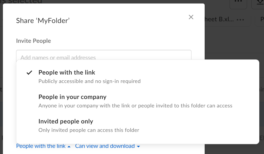 "A dropdown menu with options ""People with the link"", ""People in your company"", and ""Invited people only"""