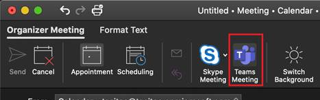 Teams Meeting Button for Outlook for Mac