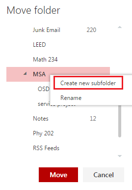 Create new subfolder
