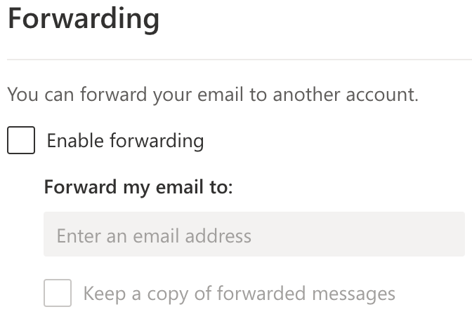 set email forwarding