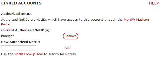 Remove linked NetID