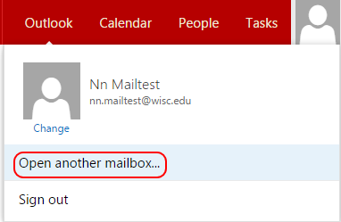 Clicking on profile picture will provide drop-down menu with 'open another mailbox' feature.