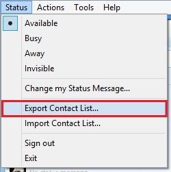 Click Export Contact List