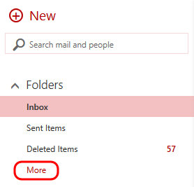 Screenshot of expanded folder tree in Outlook on the web