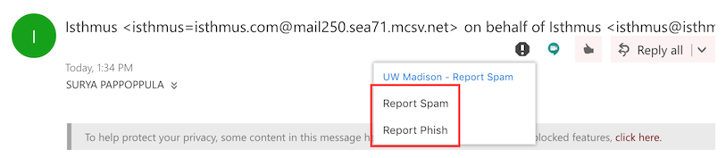 report spam/phishing actions