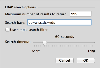 LDAP Search Options Screen
