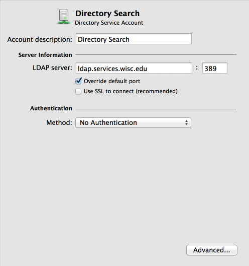 LDAP Server Settings Overview Screen