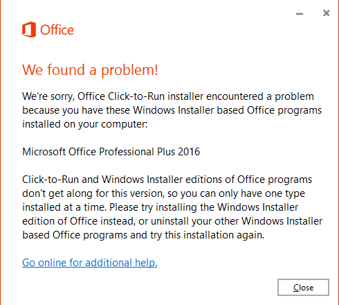 office install error