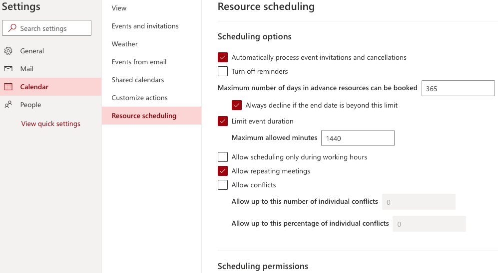 scheduling settings screen