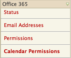 calendar permissions menu option