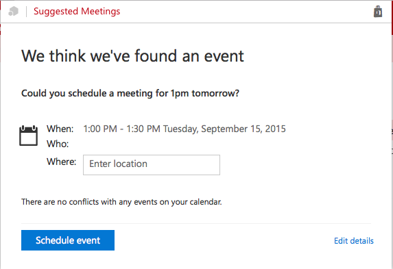 Suggested Meetings pop-up