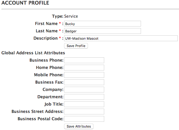 account profile screen for service account