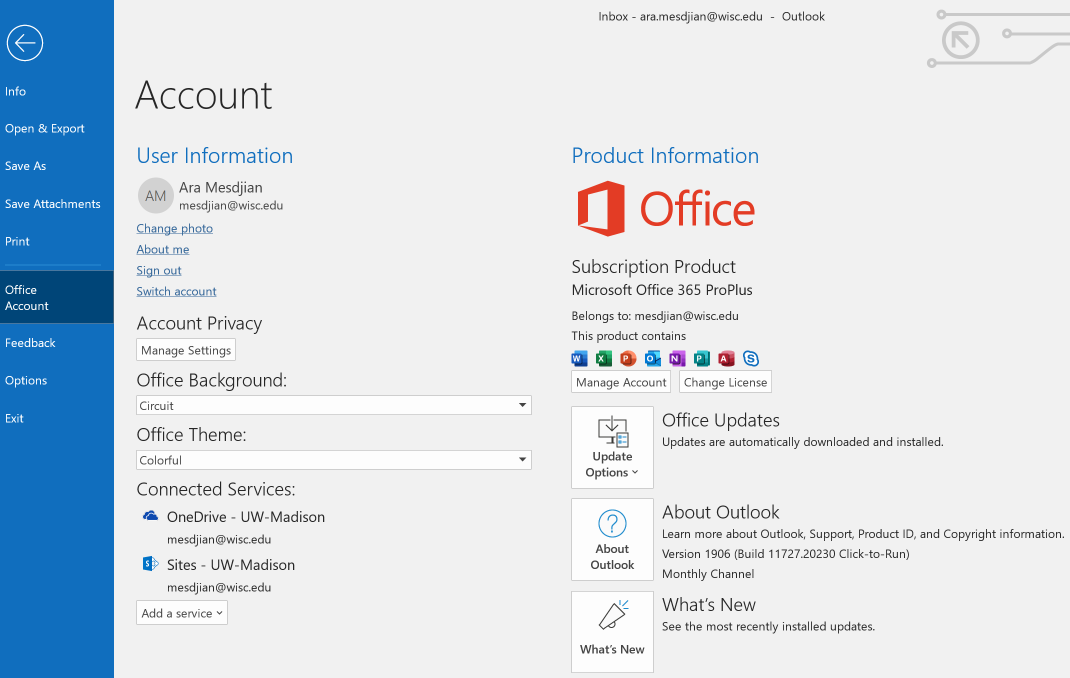 office account information
