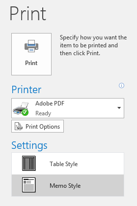 Office 365 (Outlook 2016 for Windows) - Print items in Outlook