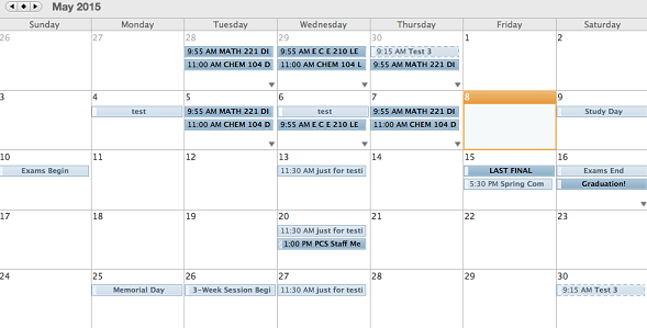 Example of overlay of Calendars