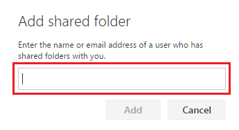 Add email address to shared folder