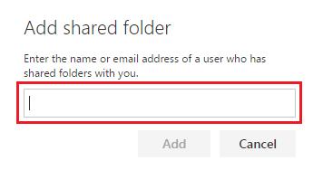 Add email address to shared folder