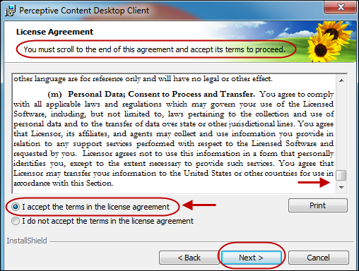 License Agreement for Perceptive Content Desktop Client