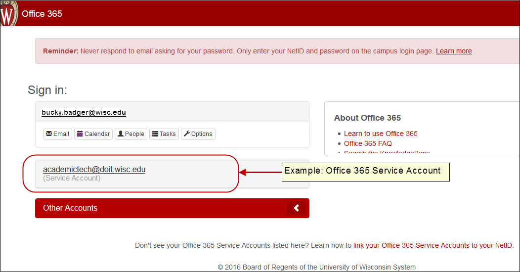 Example of Office 365 Service Account