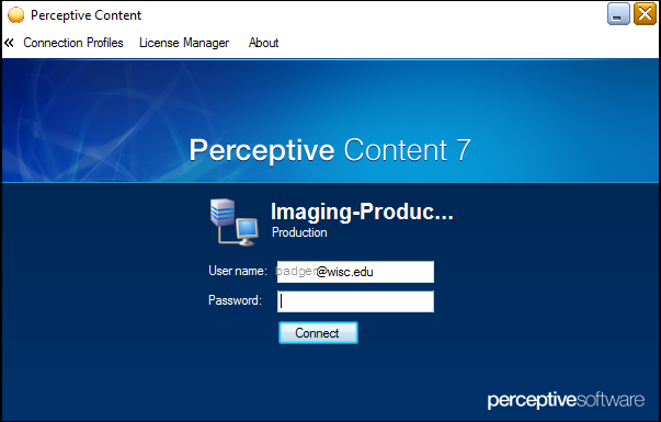 Perceptive Content 7 Login Screen