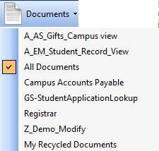 Documents drop-down menu items