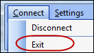 Exit menu option circled