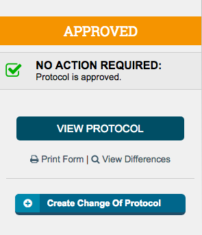 The Create Change of Protocol button allows you to create and begin a change of protocol application
