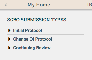 Submission Types allows you to search by type of application.