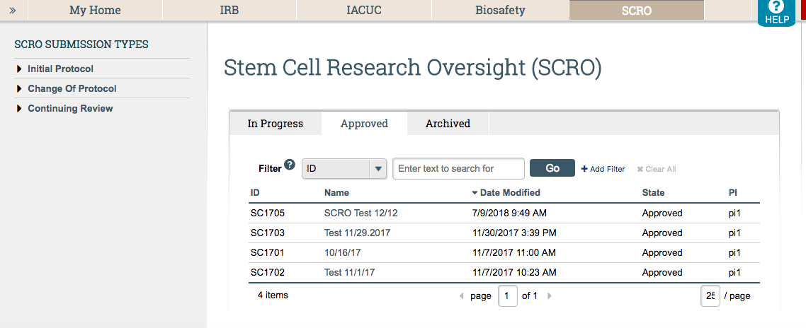 The SCRO Tab will allow you to navigate all of your SCRO ARROW protocols.