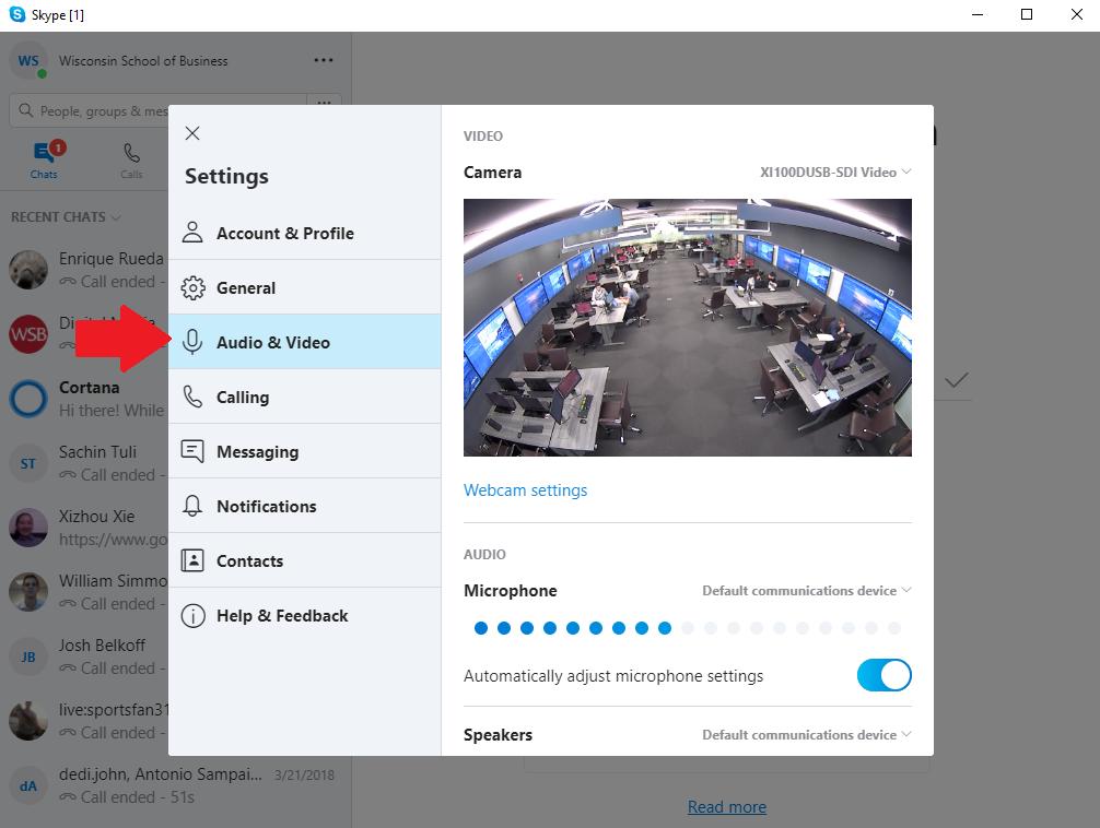 audio video settings menu