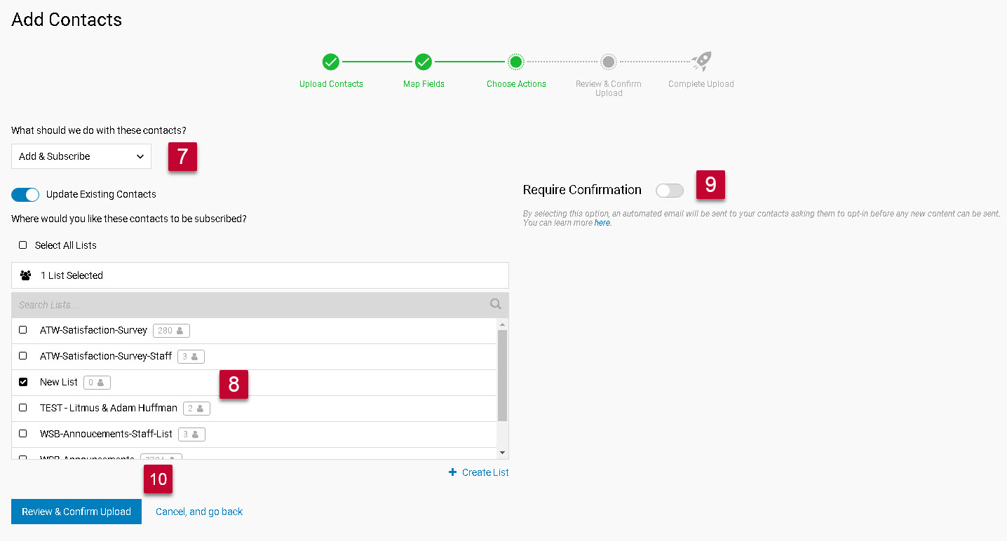 Uploading contacts into iContact steps 12-15