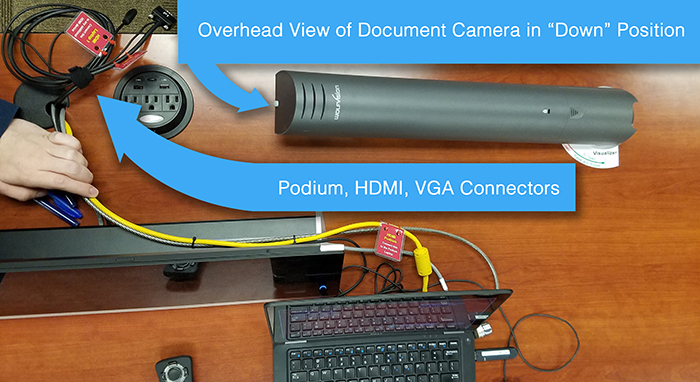 Document Camera in Down Position