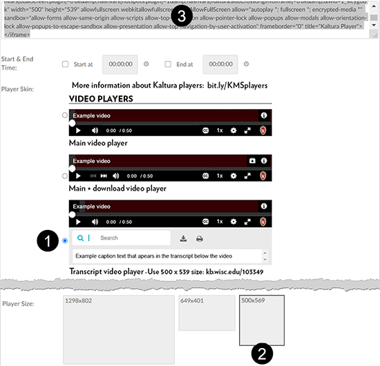 A screenshot showing the Kaltura MediaSpace embed tab. Callouts indicate the (1) Transcript video player radio button selection, (2) the 500x539 Player Size selection, and (3) the embed code to copy.