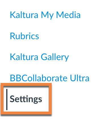 Settings tab on Canvas course (at bottom of left sidebar)