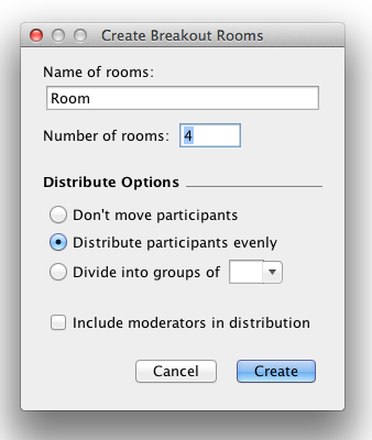 Breakout Rooms Dialogue Box