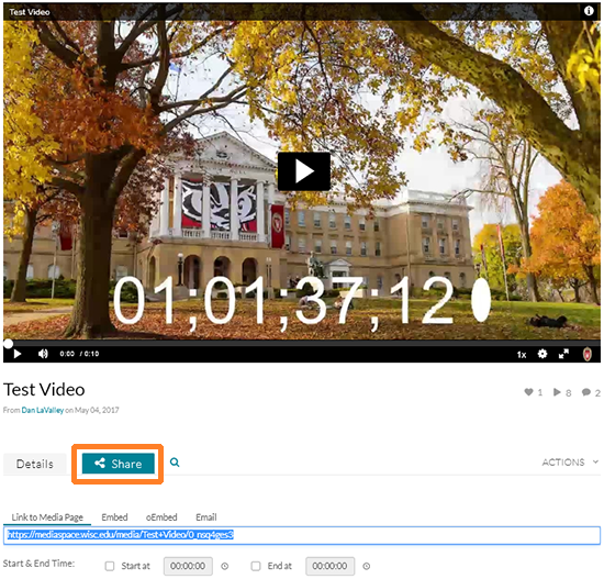 "A screenshot showing a video in Kaltura with the cursor hovering over the ""Share"" tab underneath the preview of the video."